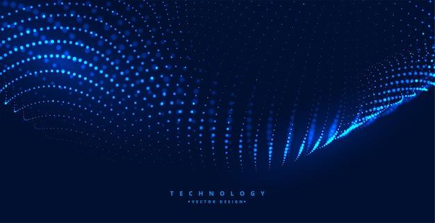 Blauwe digitale technische achtergrond met gloeiende deeltjes Gratis Vector