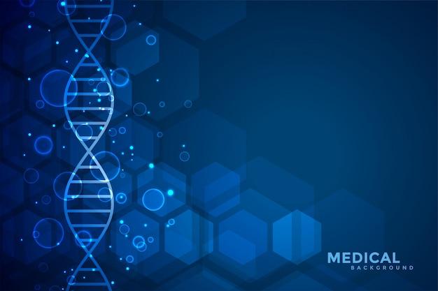 Blauwe dna blauwe medische en gezondheidszorgachtergrond Gratis Vector