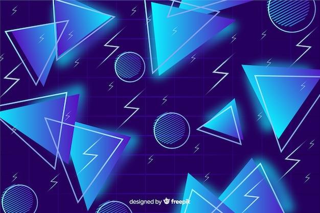 Blauwe driehoek achtergrond 80's stijl Gratis Vector
