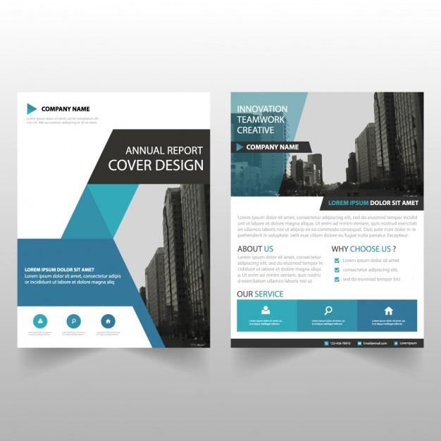 Blauwe driehoek brochure template Gratis Vector