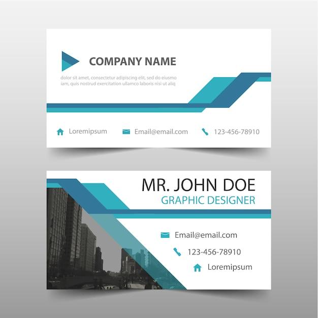 Blauwe driehoek corporate business card template Gratis Vector