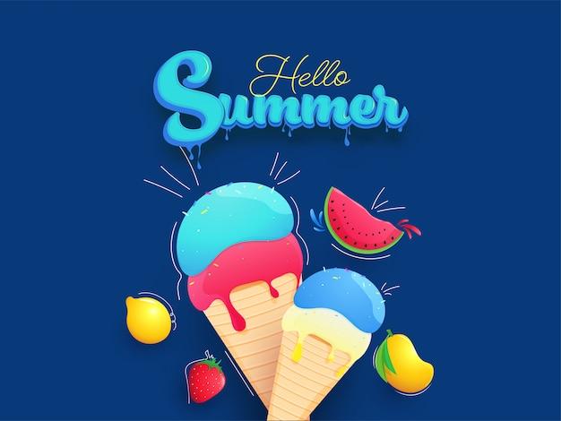 Blauwe druipende effect zomertekst met ijshoorntjes en realistische vruchten op blauwe achtergrond. Premium Vector