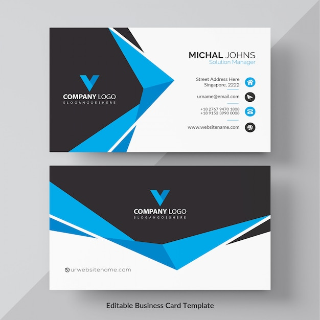 Blauwe elegante bedrijfskaart gratis vector Gratis Vector