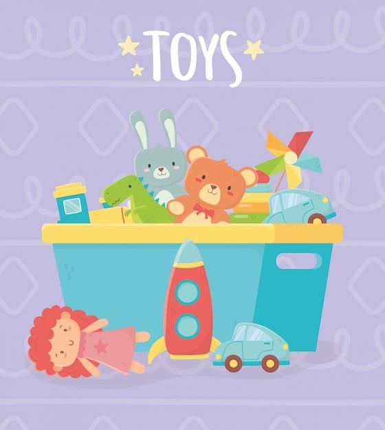 Blauwe emmer met veel grappig speelgoed Premium Vector