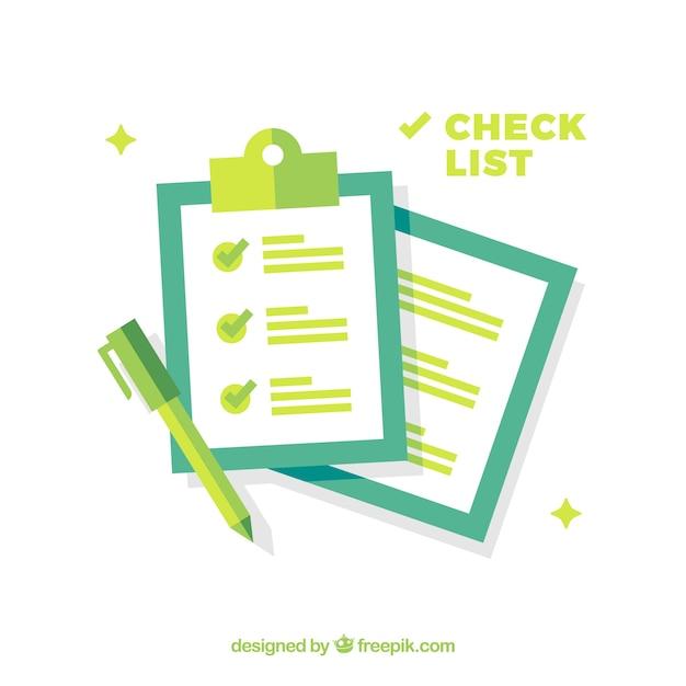 Blauwe en groene achtergrond met checklist Gratis Vector