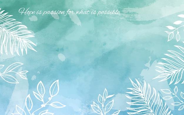 Blauwe en groene aquarel achtergrond met citaat Gratis Vector