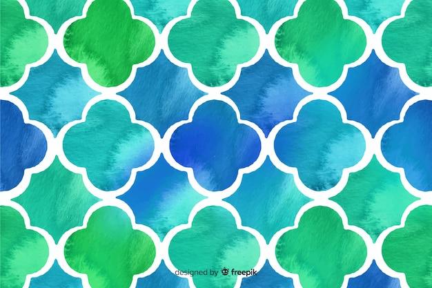 Blauwe en groene aquarel mozaïek achtergrond Gratis Vector