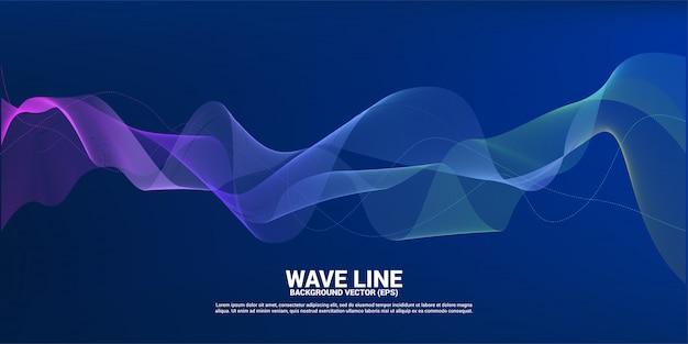 Blauwe en groene geluidsgolf lijn curve op donkere achtergrond. Premium Vector