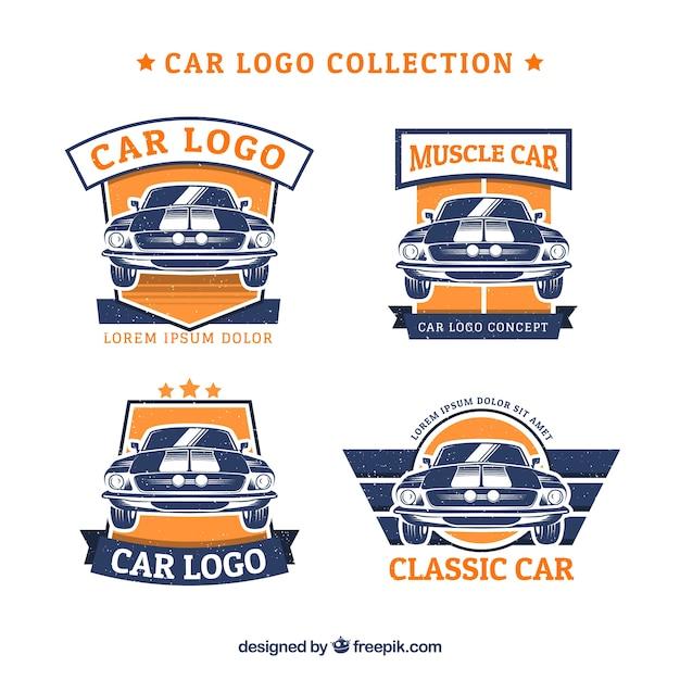 Blauwe en oranje auto logo collectie Premium Vector