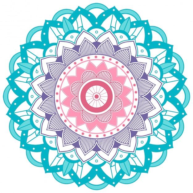 Blauwe en paarse bloem mandala Gratis Vector