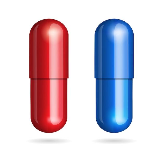 Blauwe en rode pillen Premium Vector