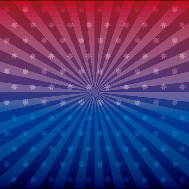 Blauwe en rode sterren en lijn Gratis Vector