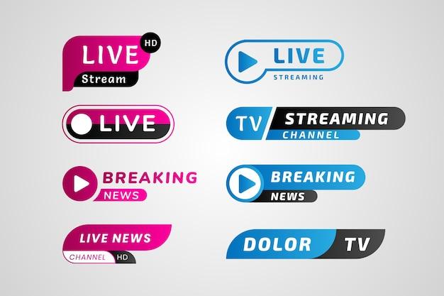 Blauwe en roze live steam nieuws banners Premium Vector
