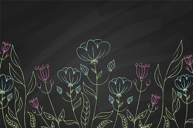 Blauwe en violette bloemenachtergrond Gratis Vector