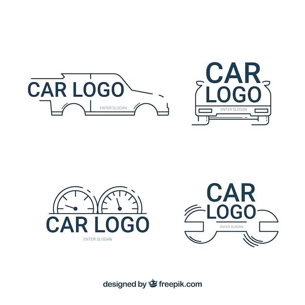 Blauwe en witte auto logo set Premium Vector