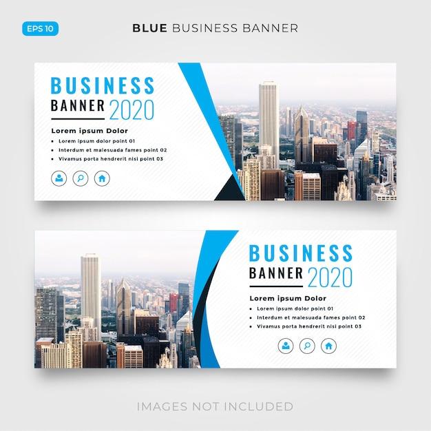 Blauwe en witte bedrijfsbanner Gratis Vector