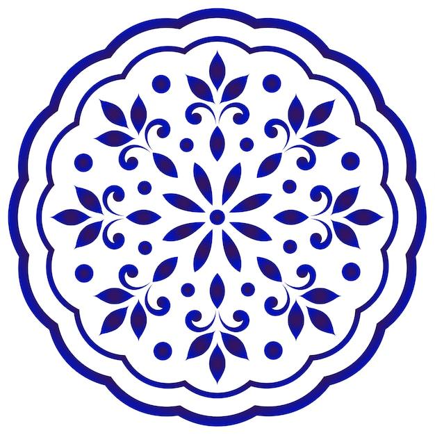 Blauwe en witte bloemen ronde mandala Premium Vector