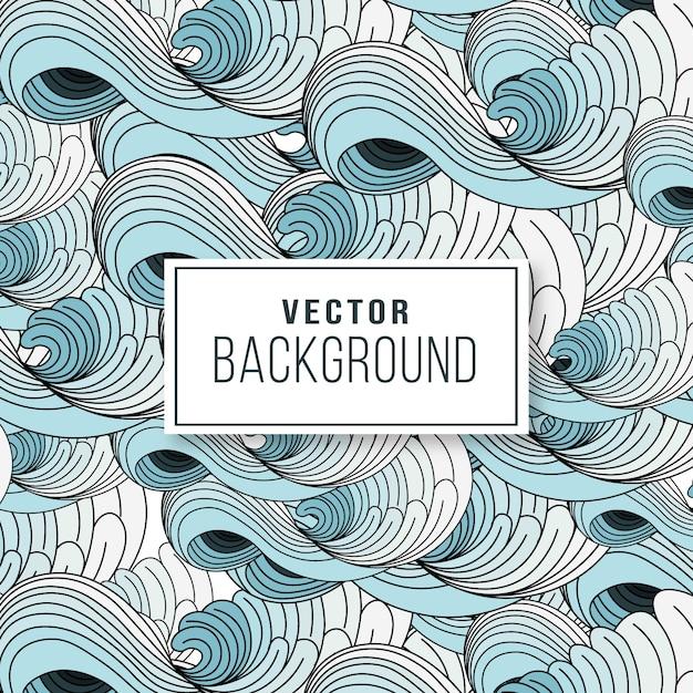 Blauwe en witte het patroonachtergrond van de golf japanse kunst Premium Vector