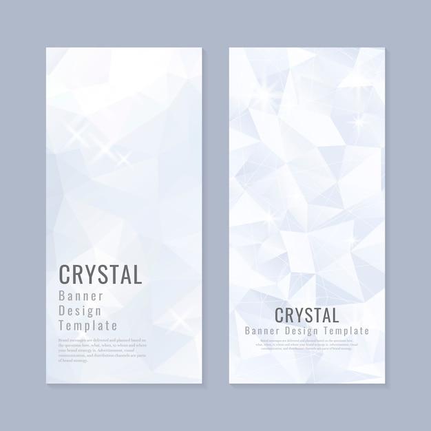 Blauwe en witte kristal sjabloon voor spandoek vector Gratis Vector