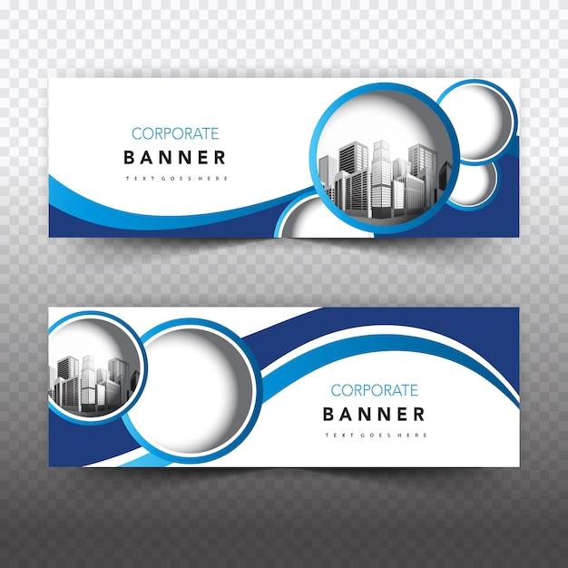 Blauwe en witte zakelijke banner Gratis Vector