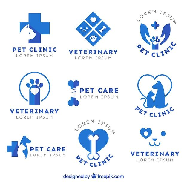 Blauwe flat dierenarts logo's instellen Gratis Vector