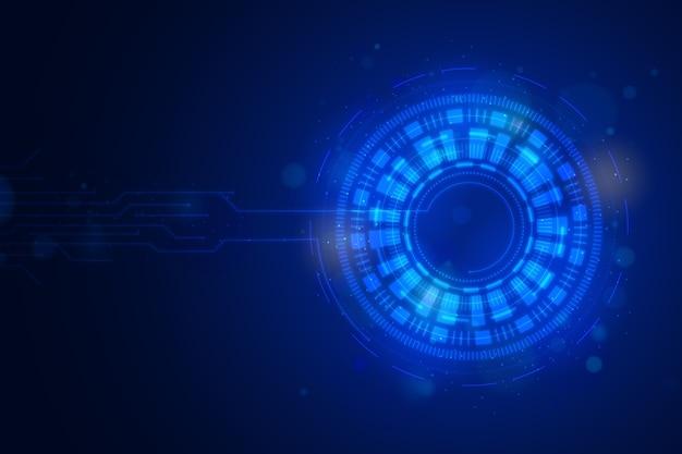 Blauwe futuristische achtergrond met digitaal oog Gratis Vector