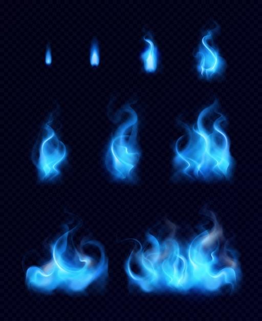 Blauwe gasvlammen realistische reeks verschillende vormen en grootte op zwarte geïsoleerde achtergrond Gratis Vector