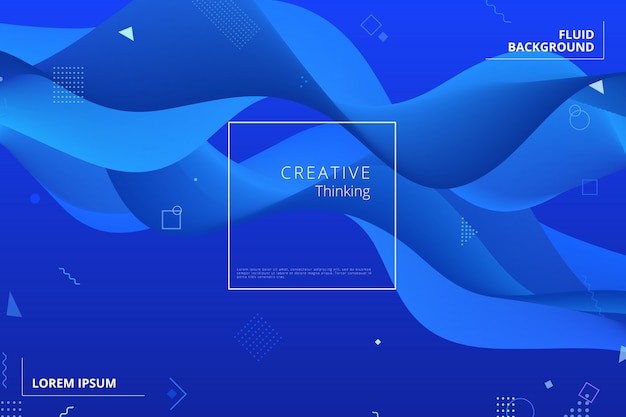 Blauwe geometrische achtergrond. samenstelling van vloeibare vormen Premium Vector