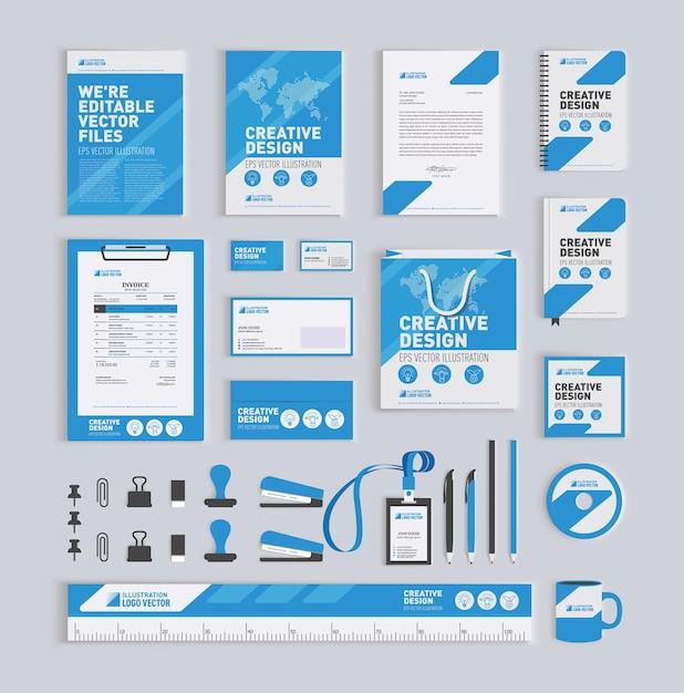 Blauwe geometrische huisstijl ontwerpsjabloon Premium Vector