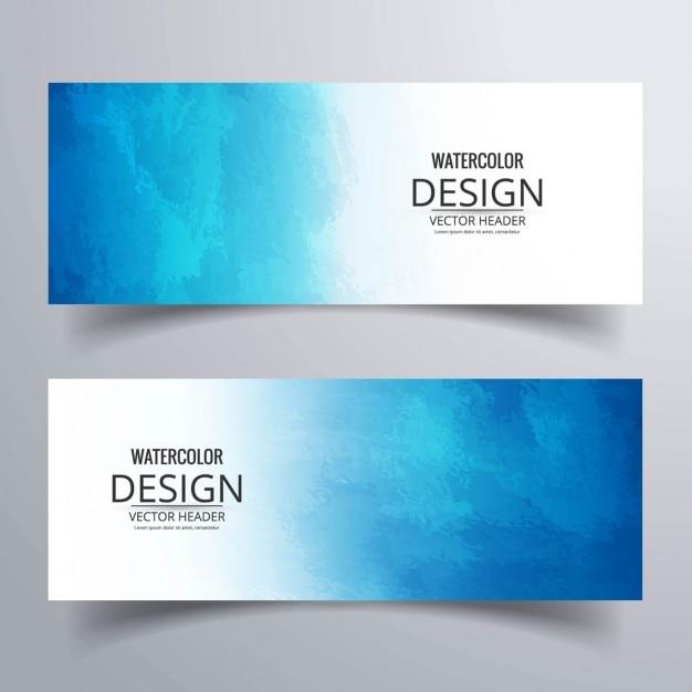 Blauwe geplaatste banners Gratis Vector