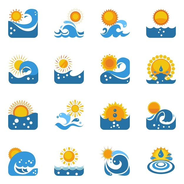 Blauwe golf met zon icons set Gratis Vector