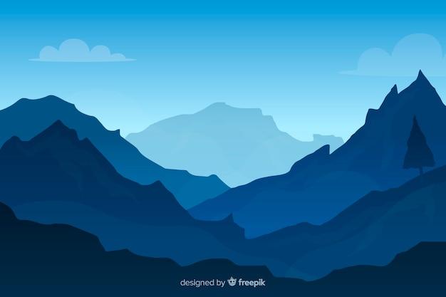 Blauwe gradiënt bergen landschap achtergrond Premium Vector