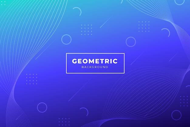 Blauwe gradiëntachtergrond met geometrische vormen Gratis Vector