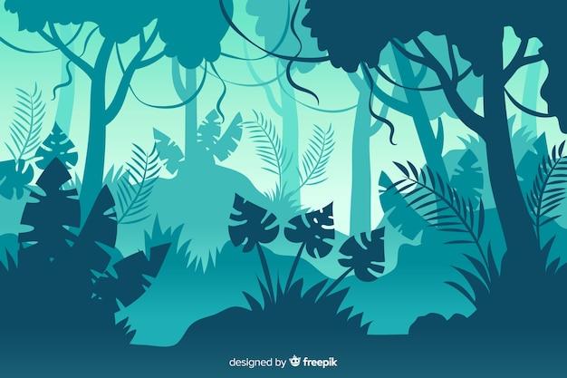 Blauwe gradiënttinten van tropisch bos Premium Vector