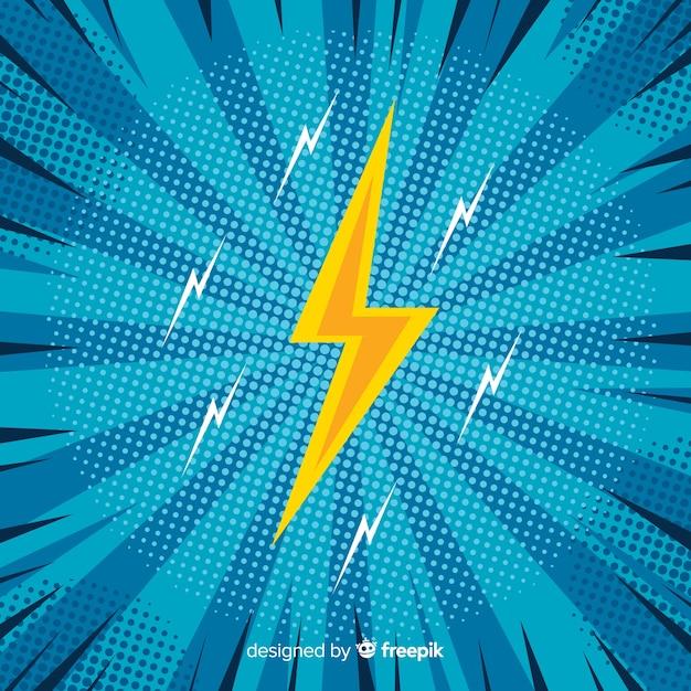Blauwe halftone komische achtergrond Gratis Vector