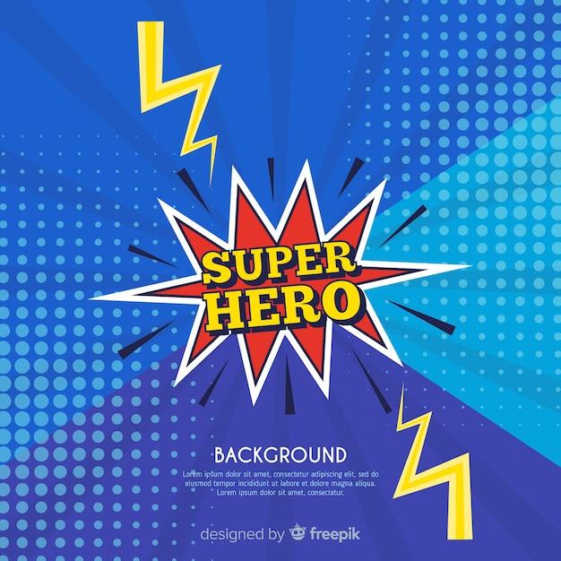 Blauwe halftone superheld achtergrond Gratis Vector