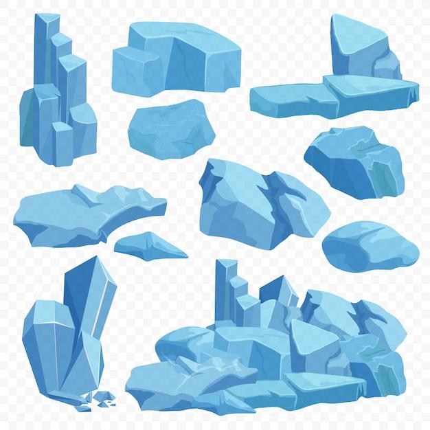 Blauwe heldere kristallen stenen instellen Premium Vector