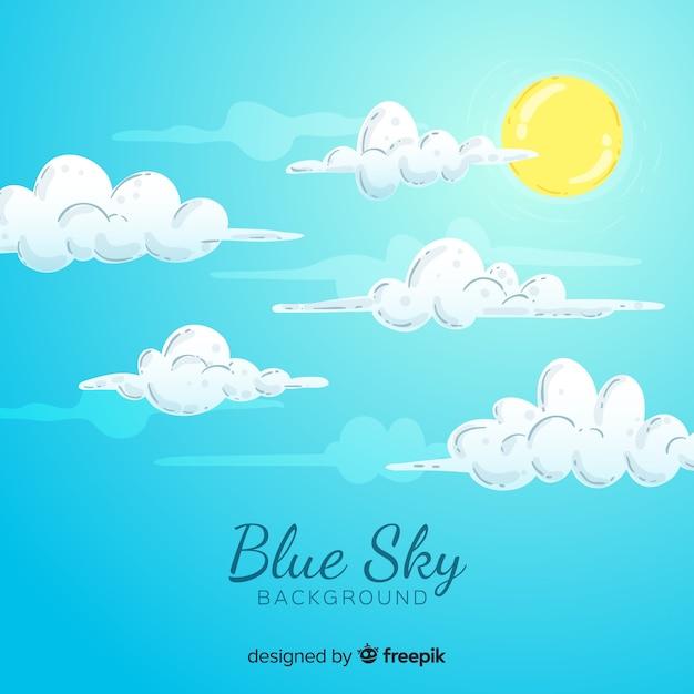 Blauwe hemelachtergrond Gratis Vector