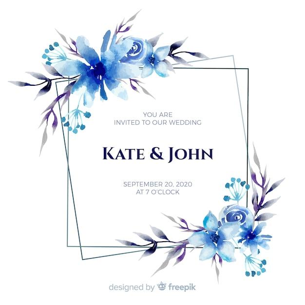 Blauwe het huwelijksuitnodiging van het waterverf bloemenkader Gratis Vector