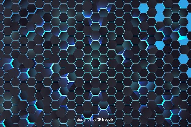 Blauwe honingraatachtergrond Gratis Vector