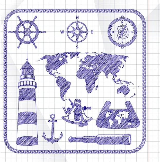 Blauwe inkt geschetst navigatie pictogramserie Premium Vector