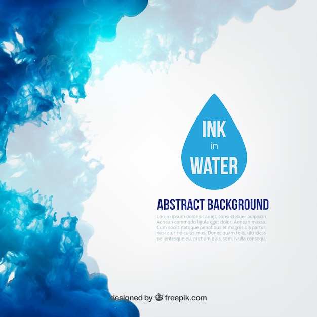 Blauwe inkt in water Gratis Vector