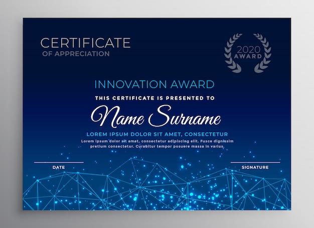 Blauwe innovatie technologie sjabloonontwerp Gratis Vector