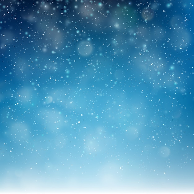 Blauwe kerst vallende sneeuw sjabloon. Premium Vector