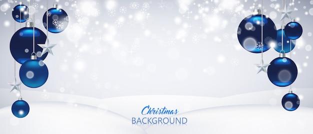 Blauwe kerstmis of nieuwjaarachtergrond Premium Vector