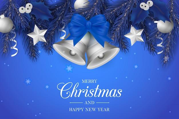 Blauwe kerstmisachtergrond met zilveren klokken Gratis Vector