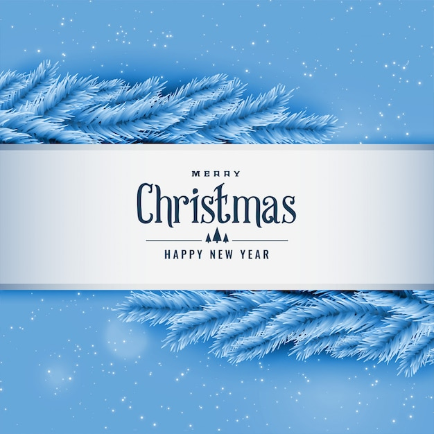 Blauwe kerstmisboombladeren die achtergrond begroeten Gratis Vector