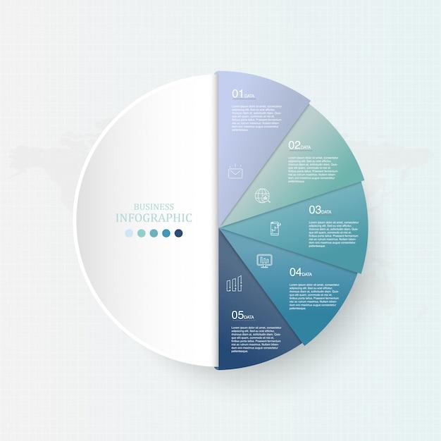 Blauwe kleur en cirkelsinfographics voor bedrijfsconcept. Premium Vector