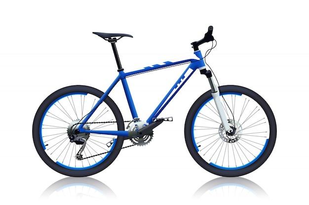Blauwe kleur fiets Premium Vector