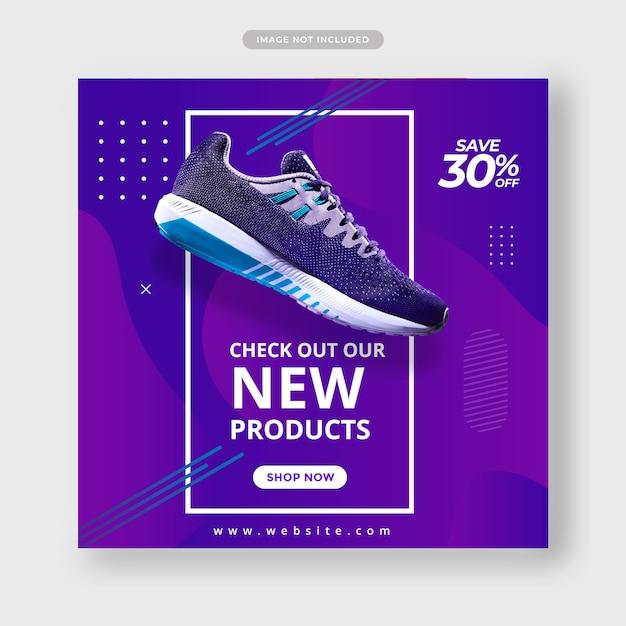 Blauwe kleur sportschoenen sociale media post banner Premium Vector